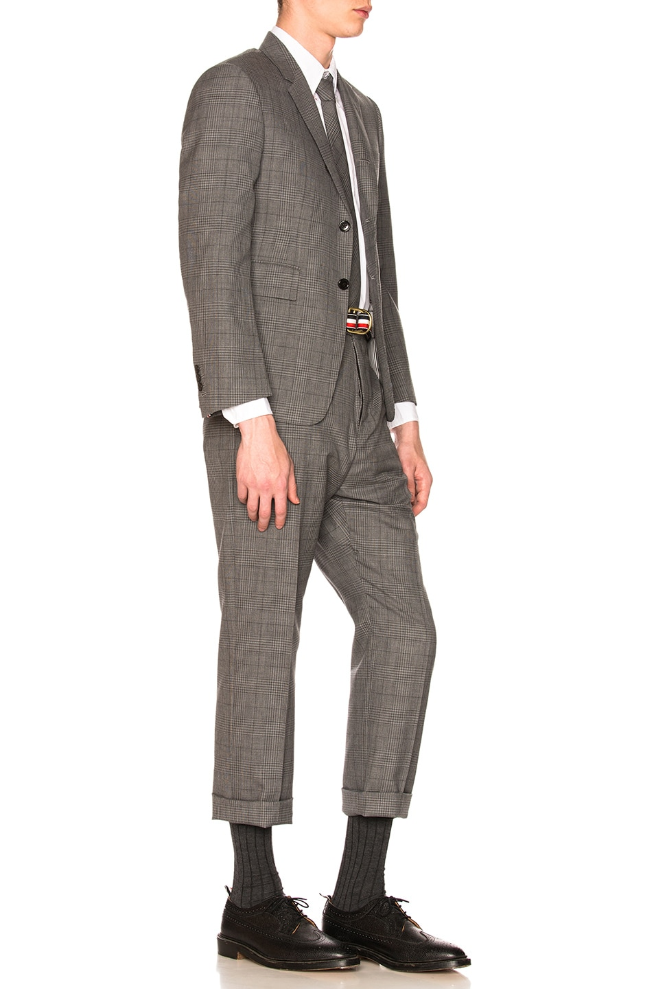 Image 3 of Thom Browne Classic Gingham Cool Wool Suit with Tie in Medium Grey