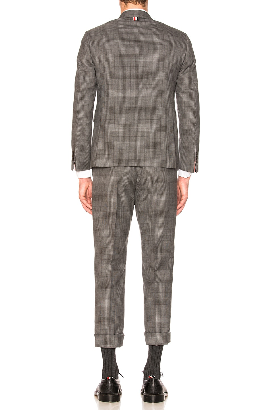 Image 4 of Thom Browne Classic Gingham Cool Wool Suit with Tie in Medium Grey