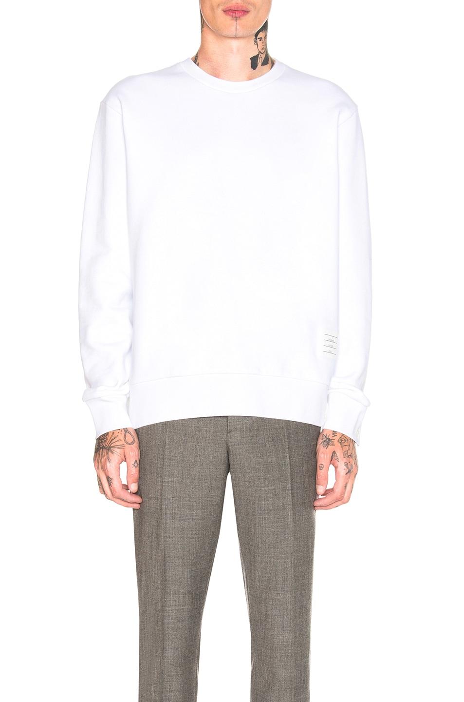 Image 2 of Thom Browne Back Stripe Crewneck Pullover in White