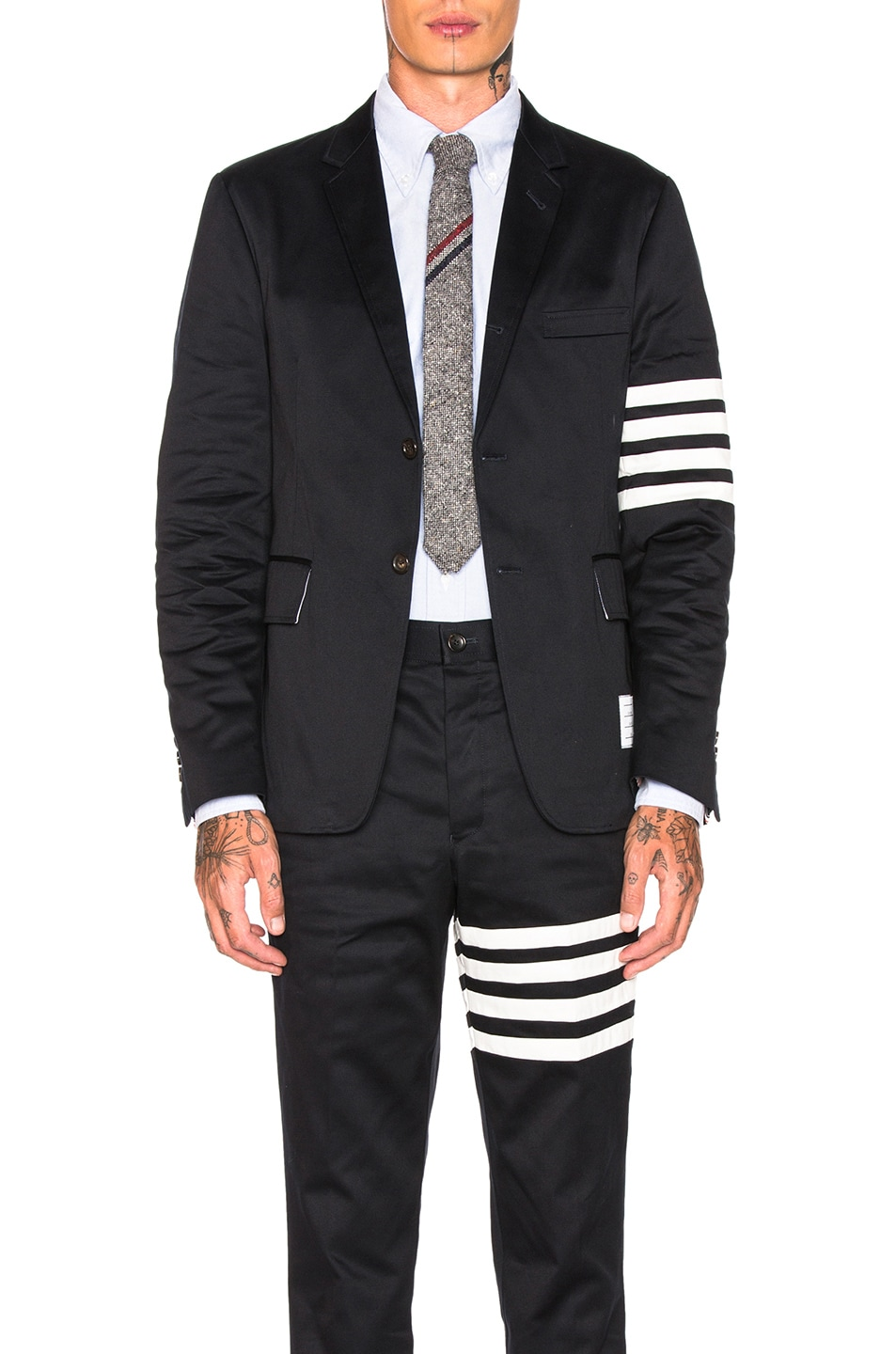 quality design 5bbc9 63752 Image 1 of Thom Browne Cotton Twill 4 Bar Unconstructed Jacket in Navy