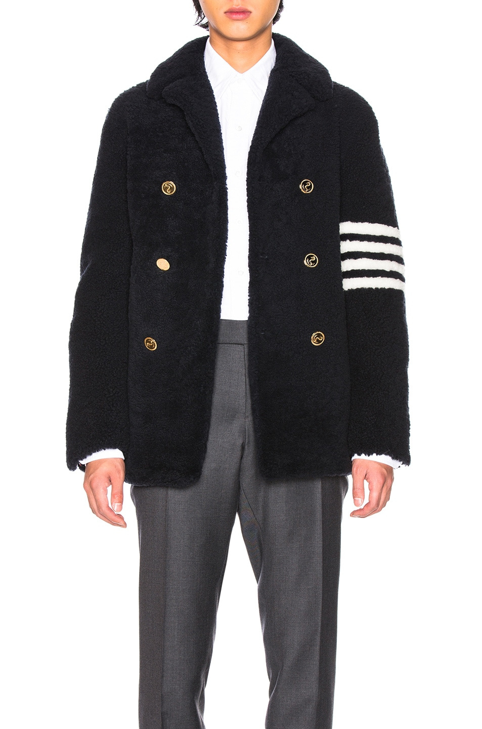 Image 1 of Thom Browne Shearling Unconstructed Classic Peacoat in Navy