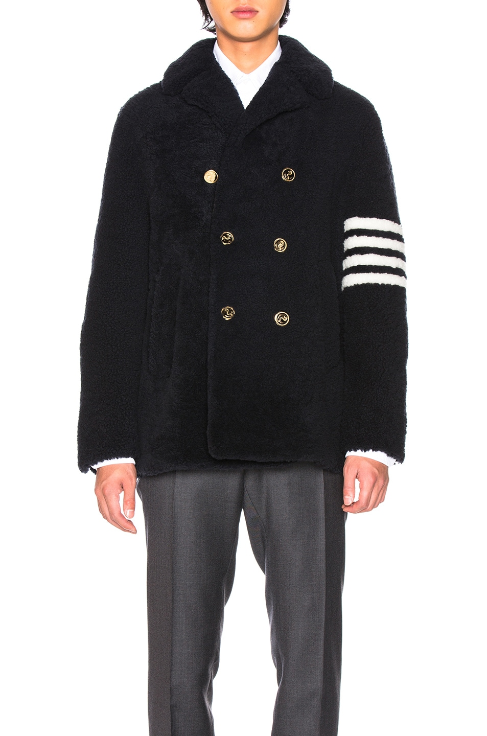 Image 2 of Thom Browne Shearling Unconstructed Classic Peacoat in Navy