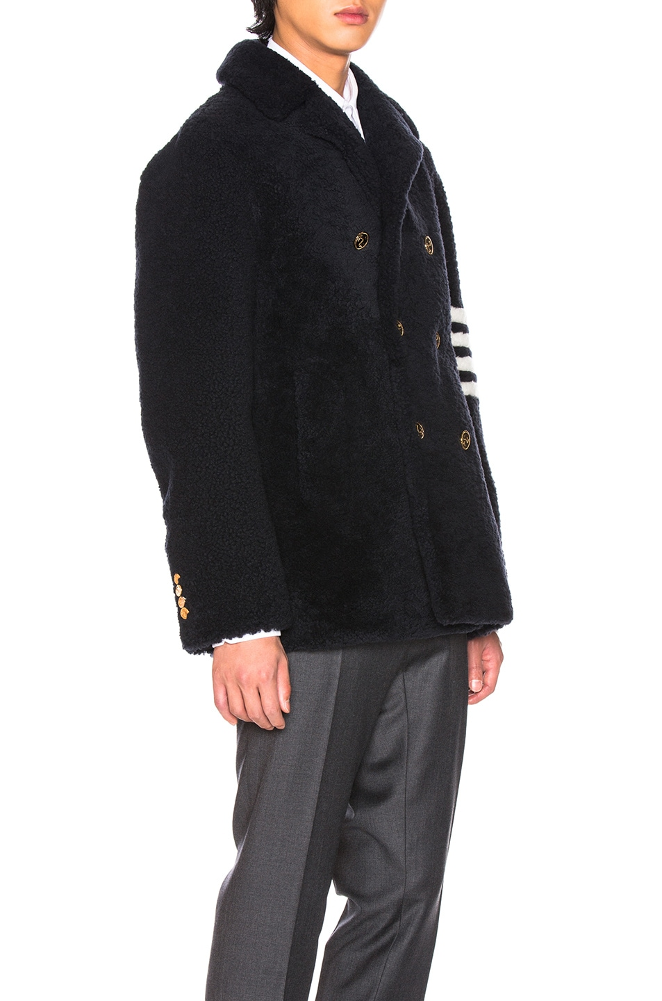 Image 3 of Thom Browne Shearling Unconstructed Classic Peacoat in Navy