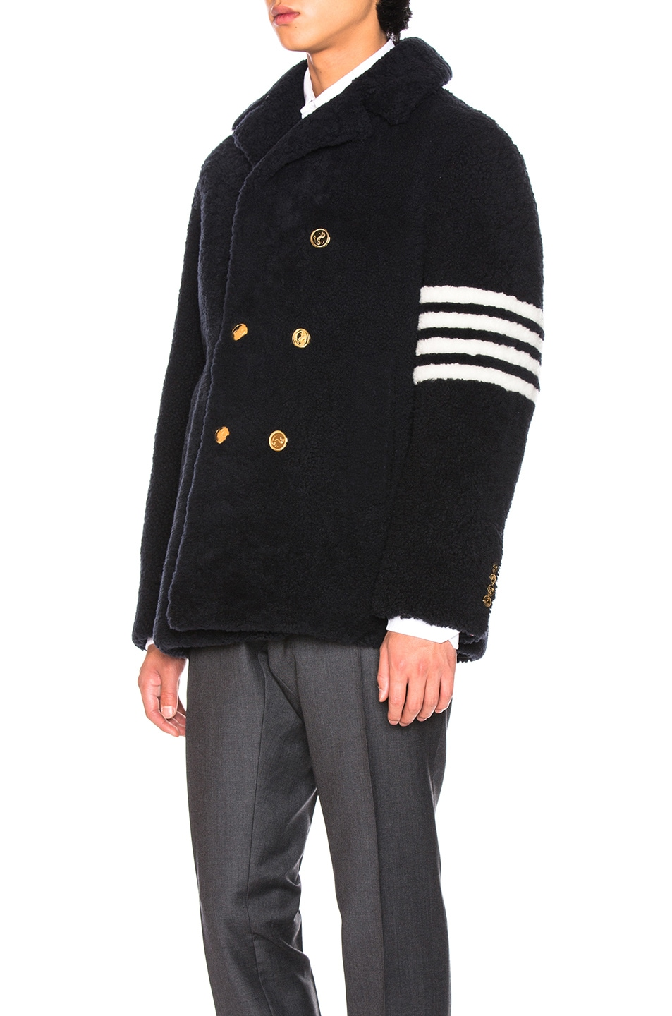 Image 4 of Thom Browne Shearling Unconstructed Classic Peacoat in Navy