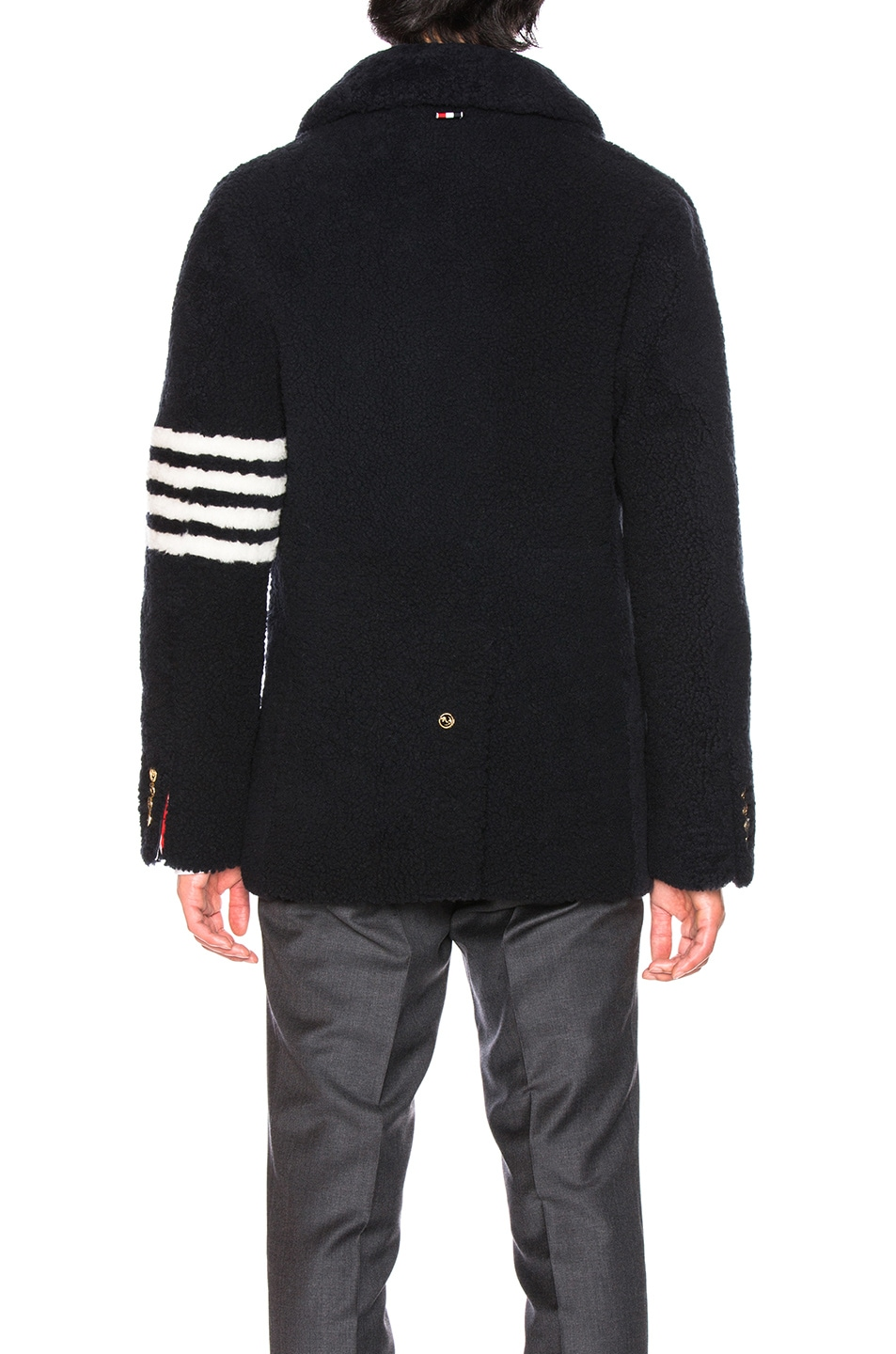 Image 5 of Thom Browne Shearling Unconstructed Classic Peacoat in Navy