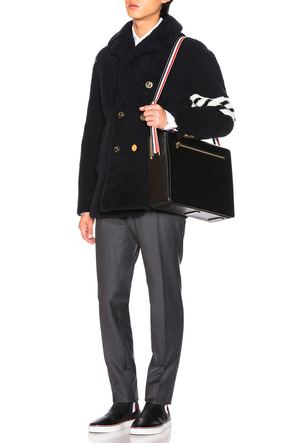 Image 6 of Thom Browne Shearling Unconstructed Classic Peacoat in Navy