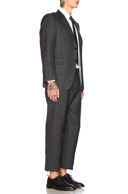Image 3 of Thom Browne Wide Lapel Suit in Dark Grey