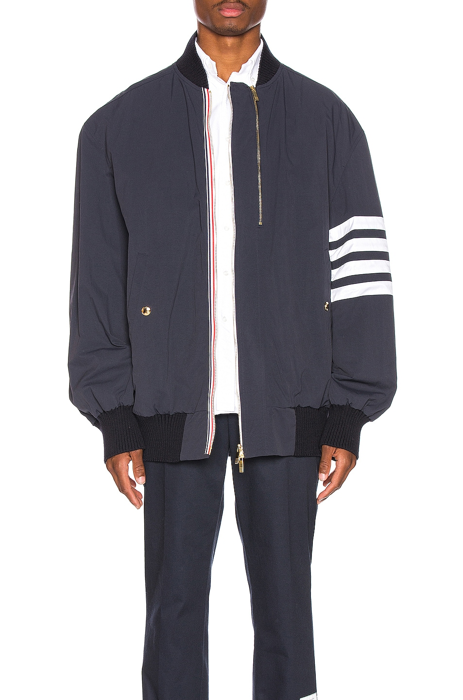 Image 1 of Thom Browne Oversized Double Zip Jacket in Navy