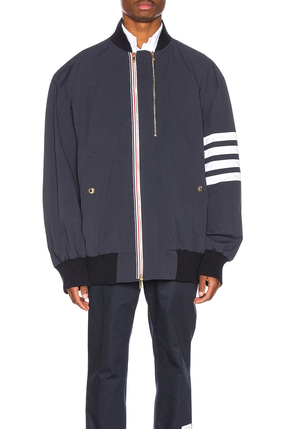 Image 2 of Thom Browne Oversized Double Zip Jacket in Navy
