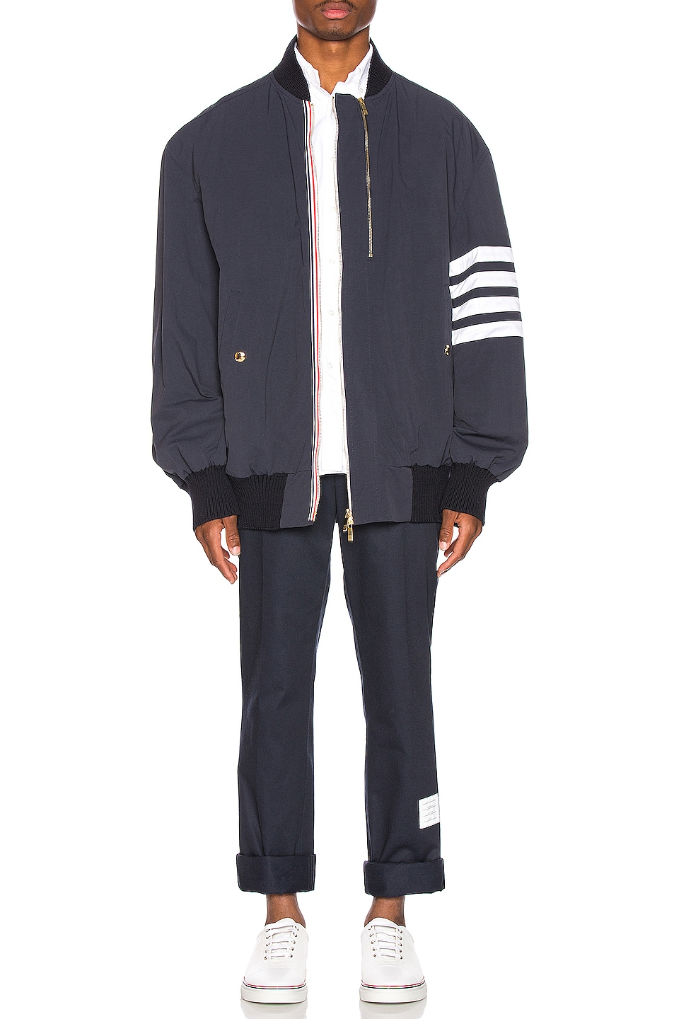 Image 7 of Thom Browne Oversized Double Zip Jacket in Navy