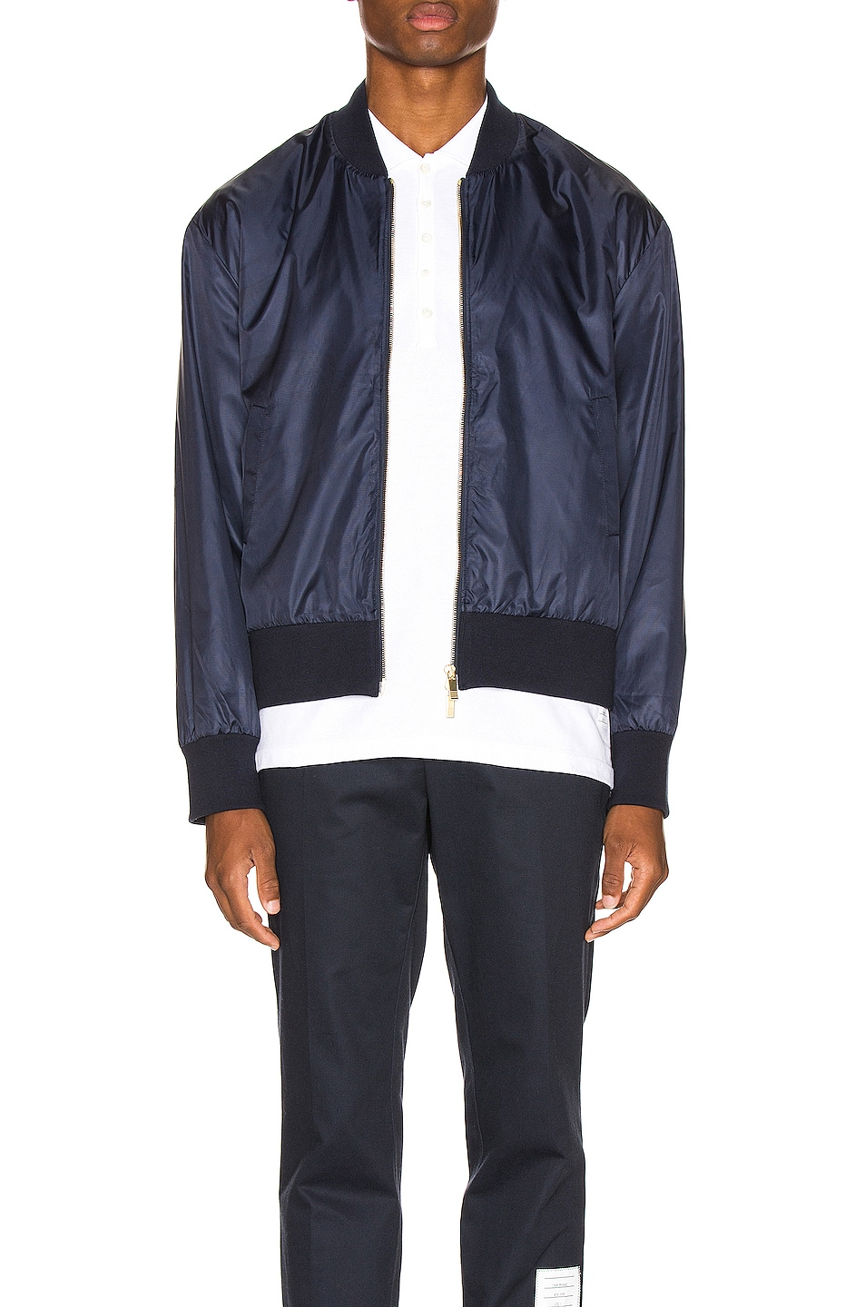 Image 2 of Thom Browne Bomber Jacket in Navy