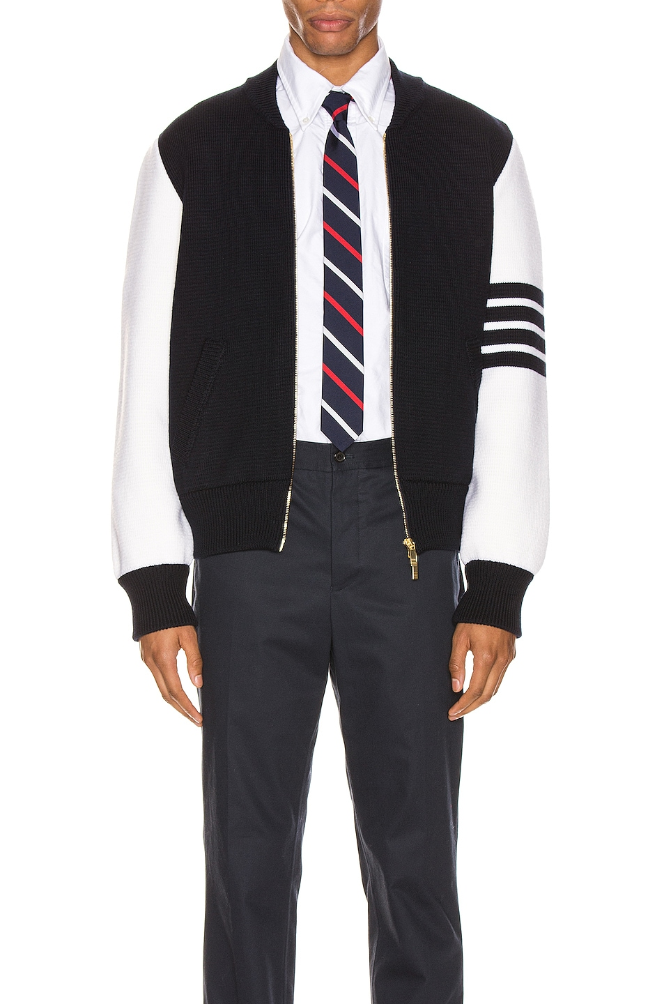 Image 1 of Thom Browne Milano Stitch Bomber Jacket in Navy