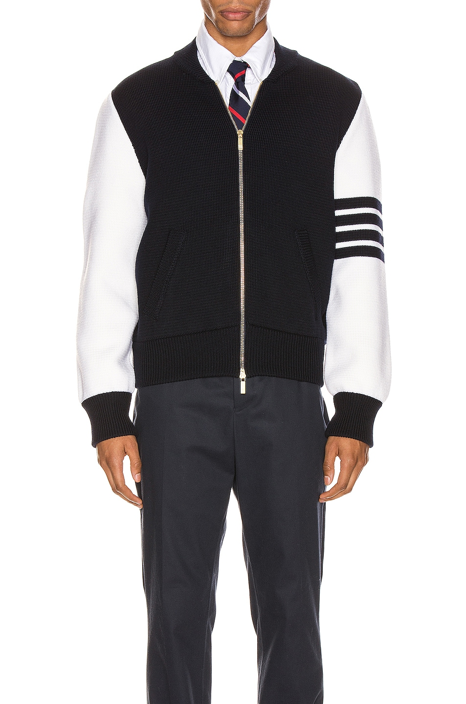 Image 2 of Thom Browne Milano Stitch Bomber Jacket in Navy