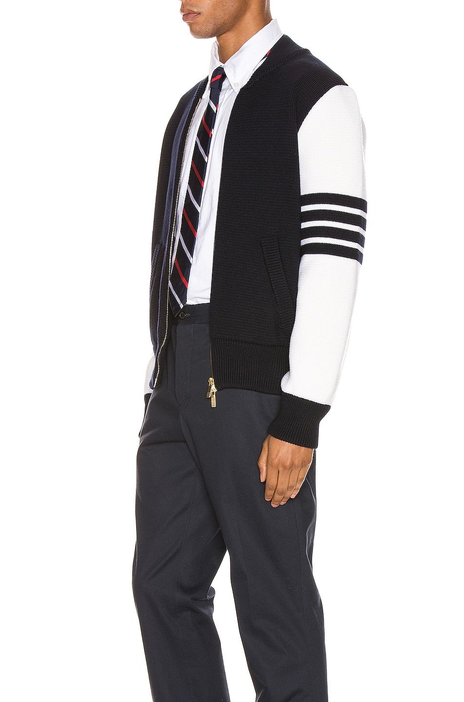 Image 4 of Thom Browne Milano Stitch Bomber Jacket in Navy
