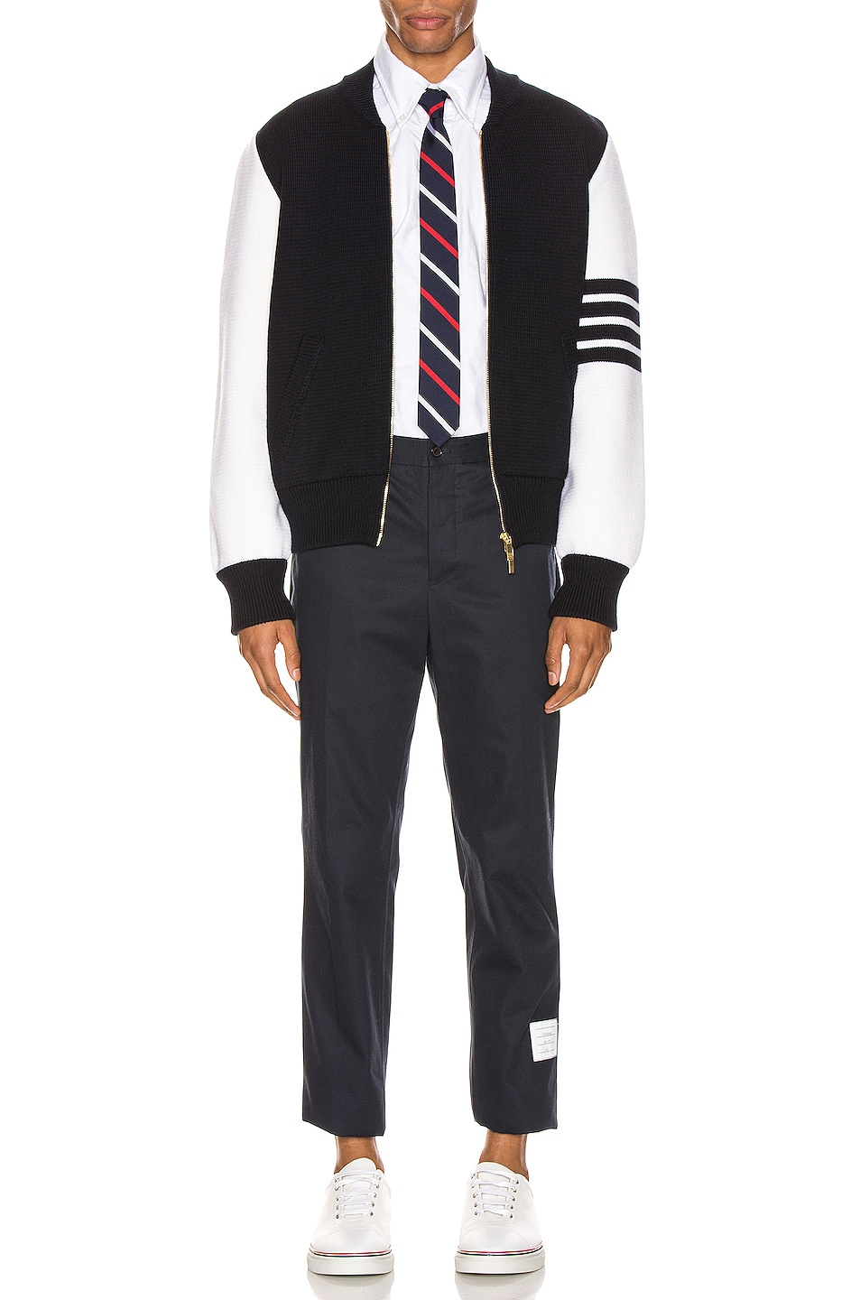 Image 6 of Thom Browne Milano Stitch Bomber Jacket in Navy