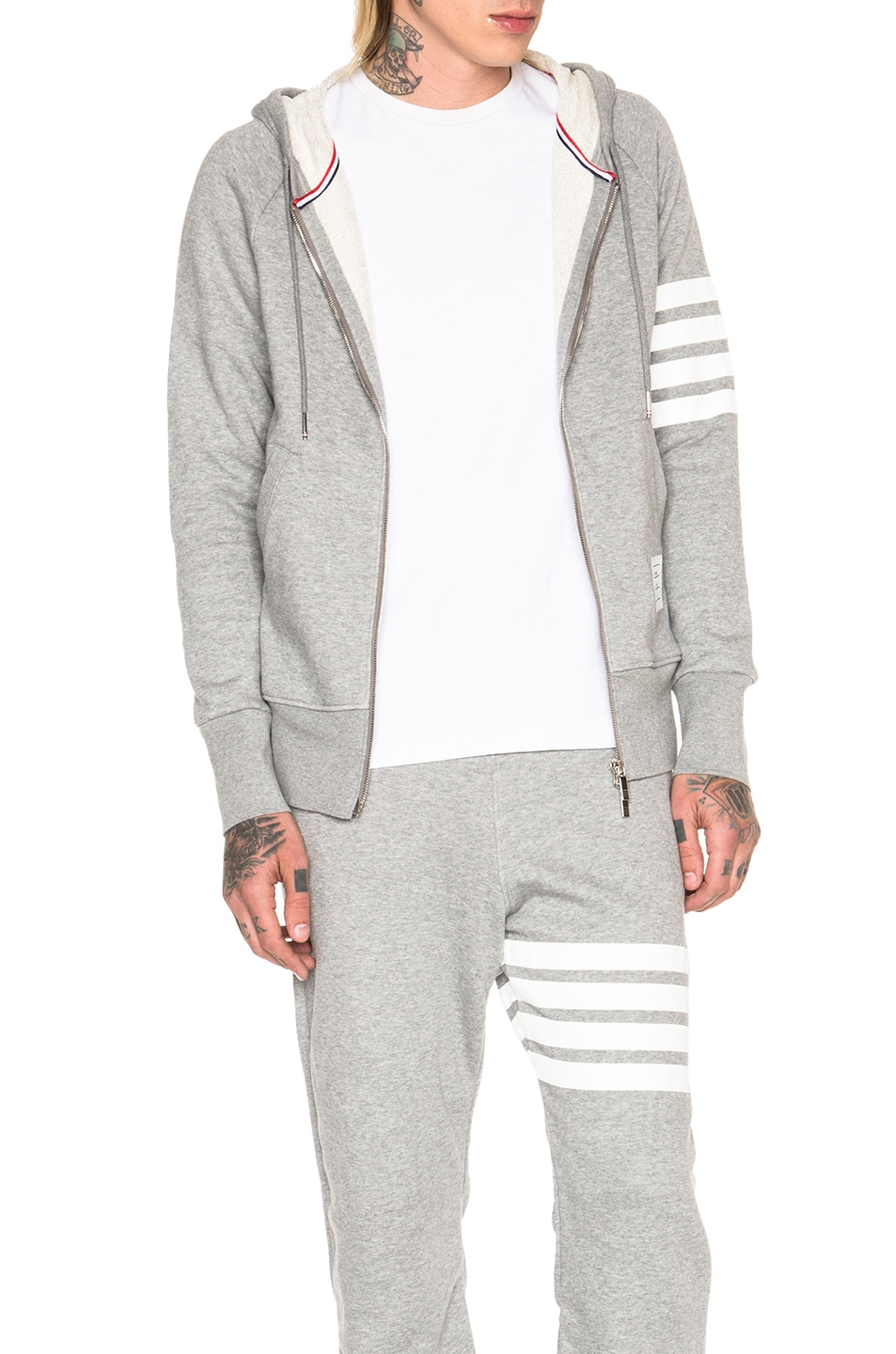 Image 1 of Thom Browne Classic Full Zip Cotton Hoodie in Light Heather Grey