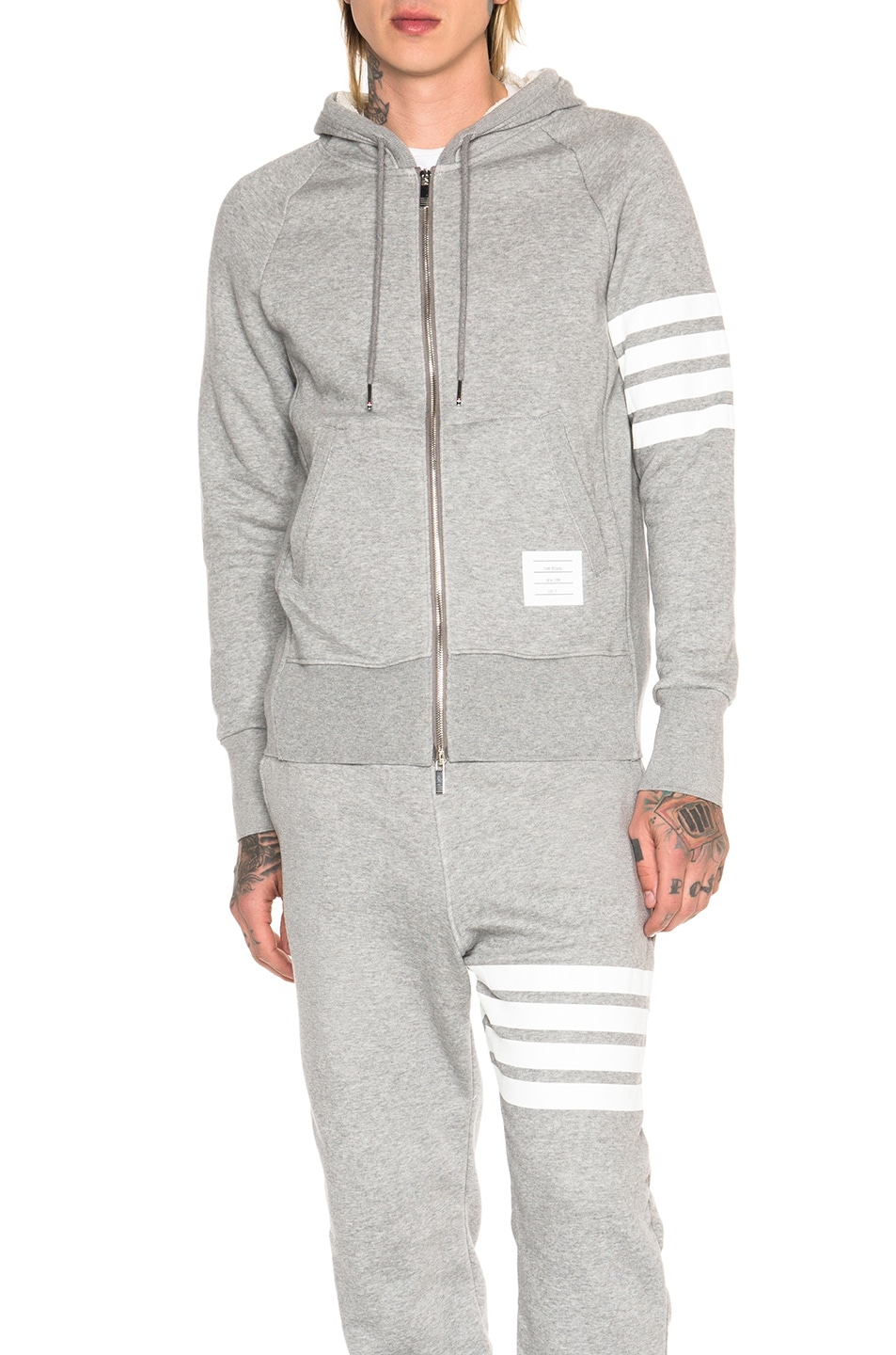 Image 2 of Thom Browne Classic Full Zip Cotton Hoodie in Light Heather Grey