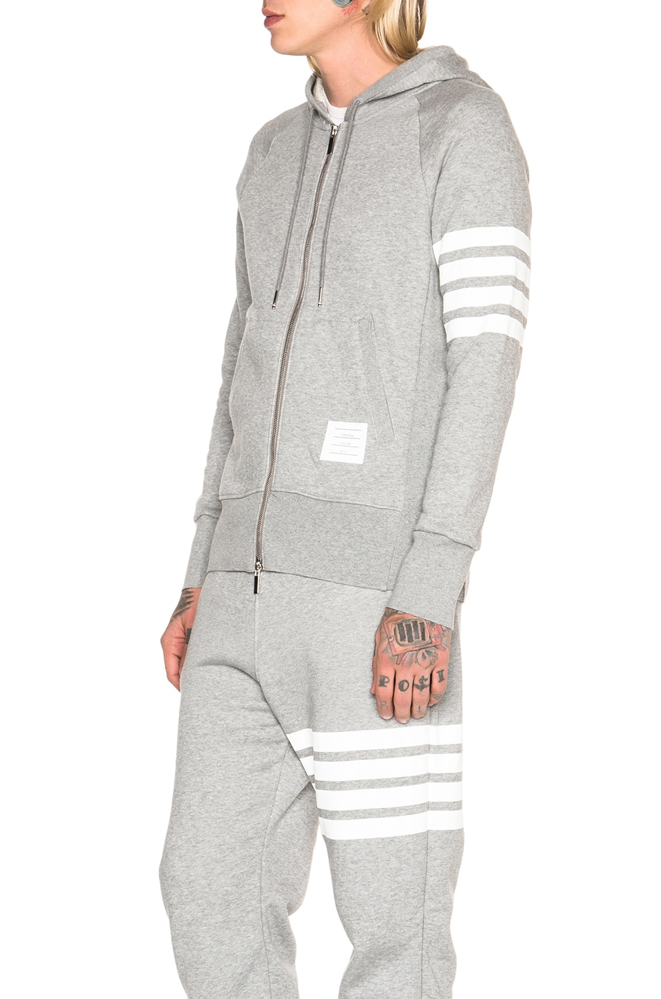 Image 3 of Thom Browne Classic Full Zip Cotton Hoodie in Light Heather Grey