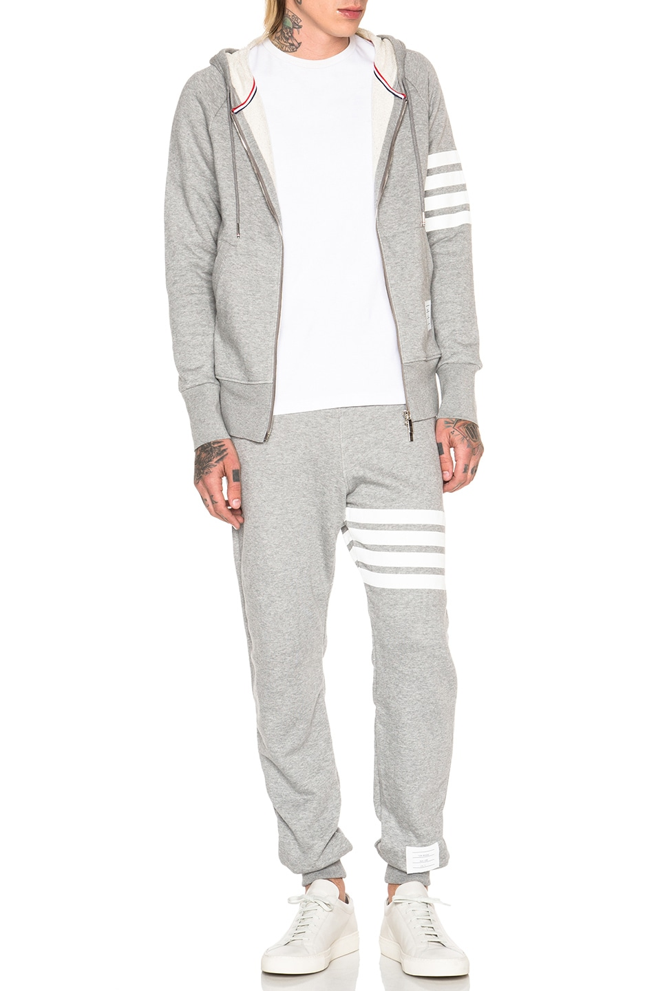 Image 6 of Thom Browne Classic Full Zip Cotton Hoodie in Light Heather Grey