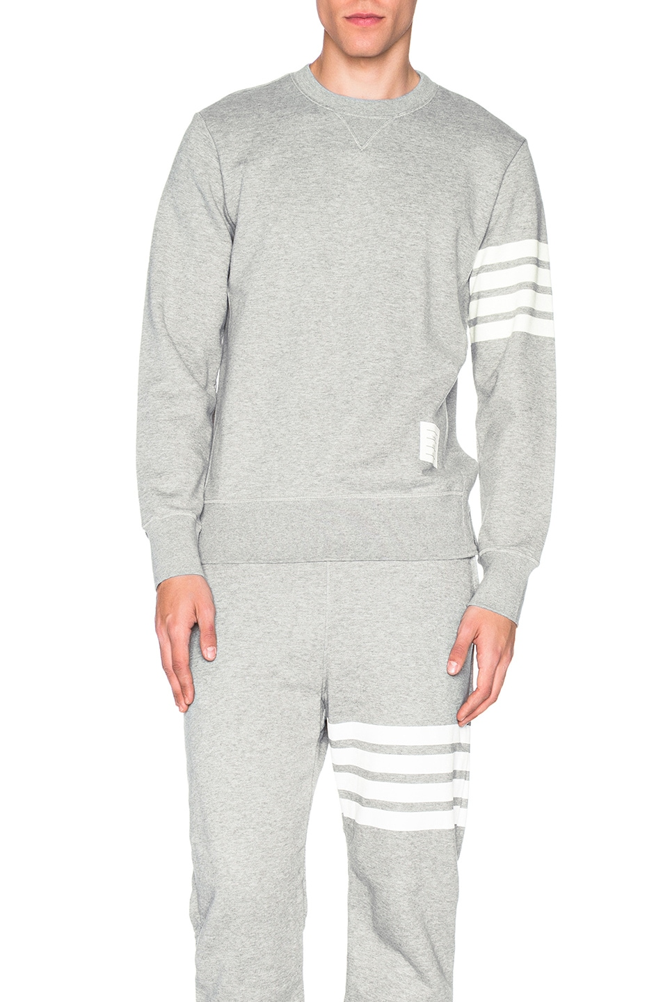 Grey Classic Sweatshirt With Engineered 4-Bar In Classic Loop Back, Gray