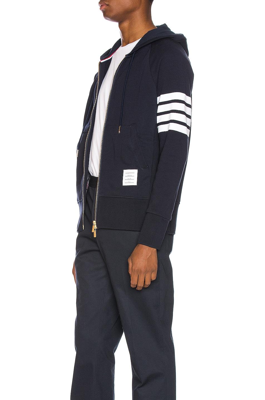 Image 4 of Thom Browne Engineered 4 Bar Zip Hoodie in Navy