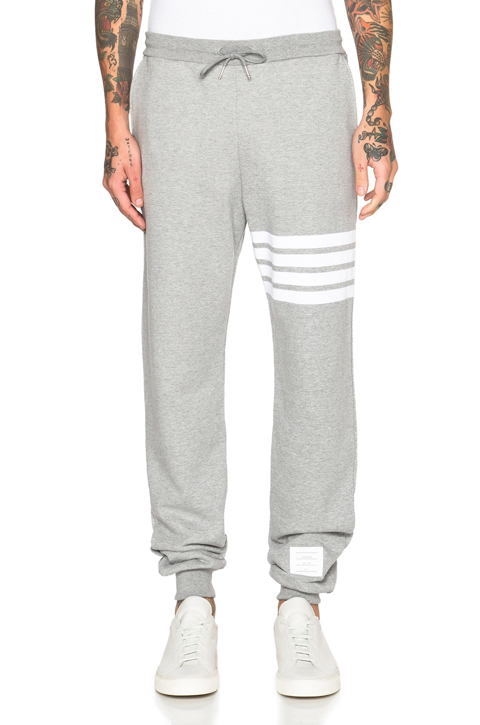 THOM BROWNE Classic Drawstring Sweatpants With Stripe Detail, Light Gray/Optic White