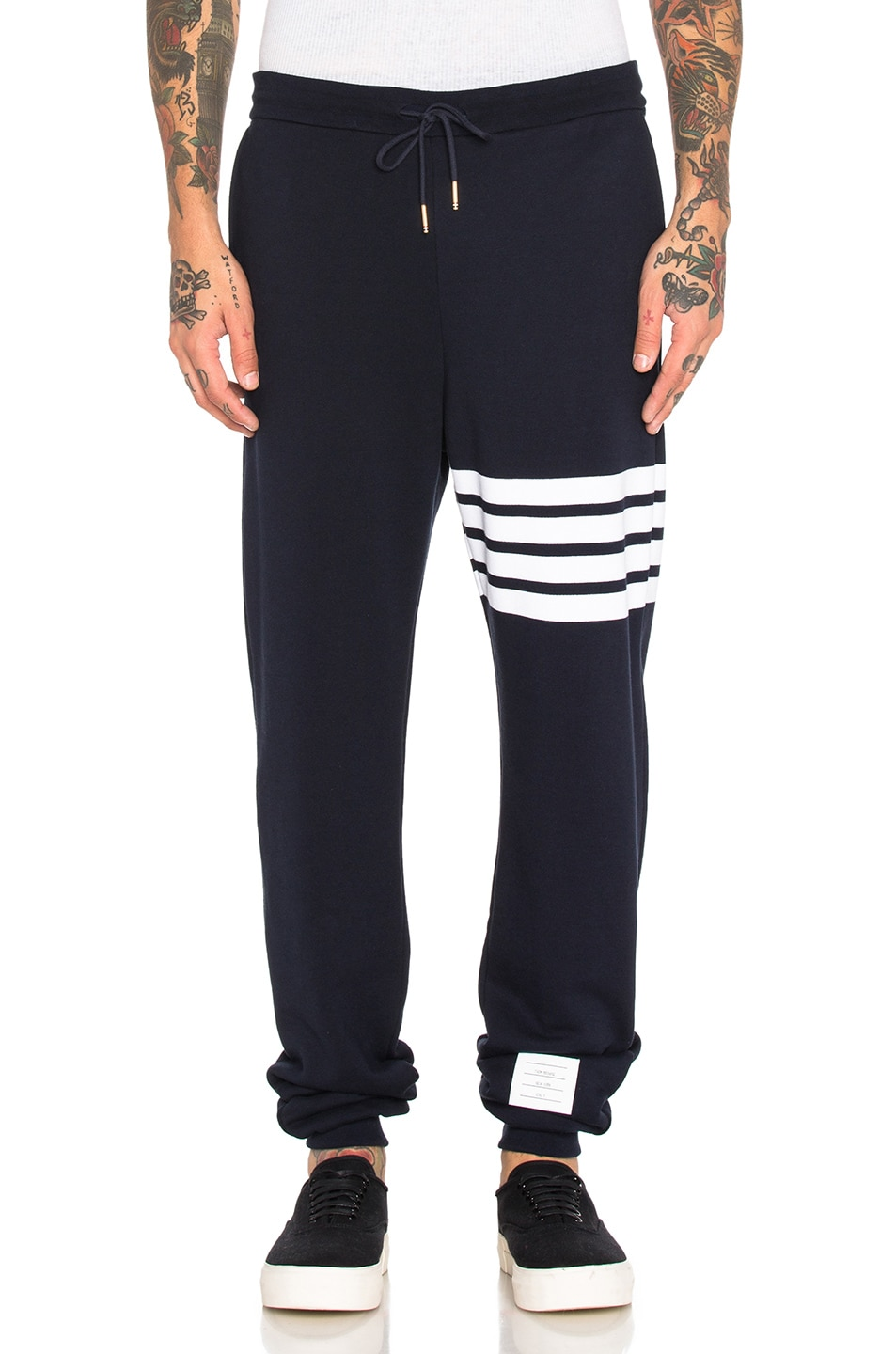 Image 1 of Thom Browne Cotton Sweatpants in Navy