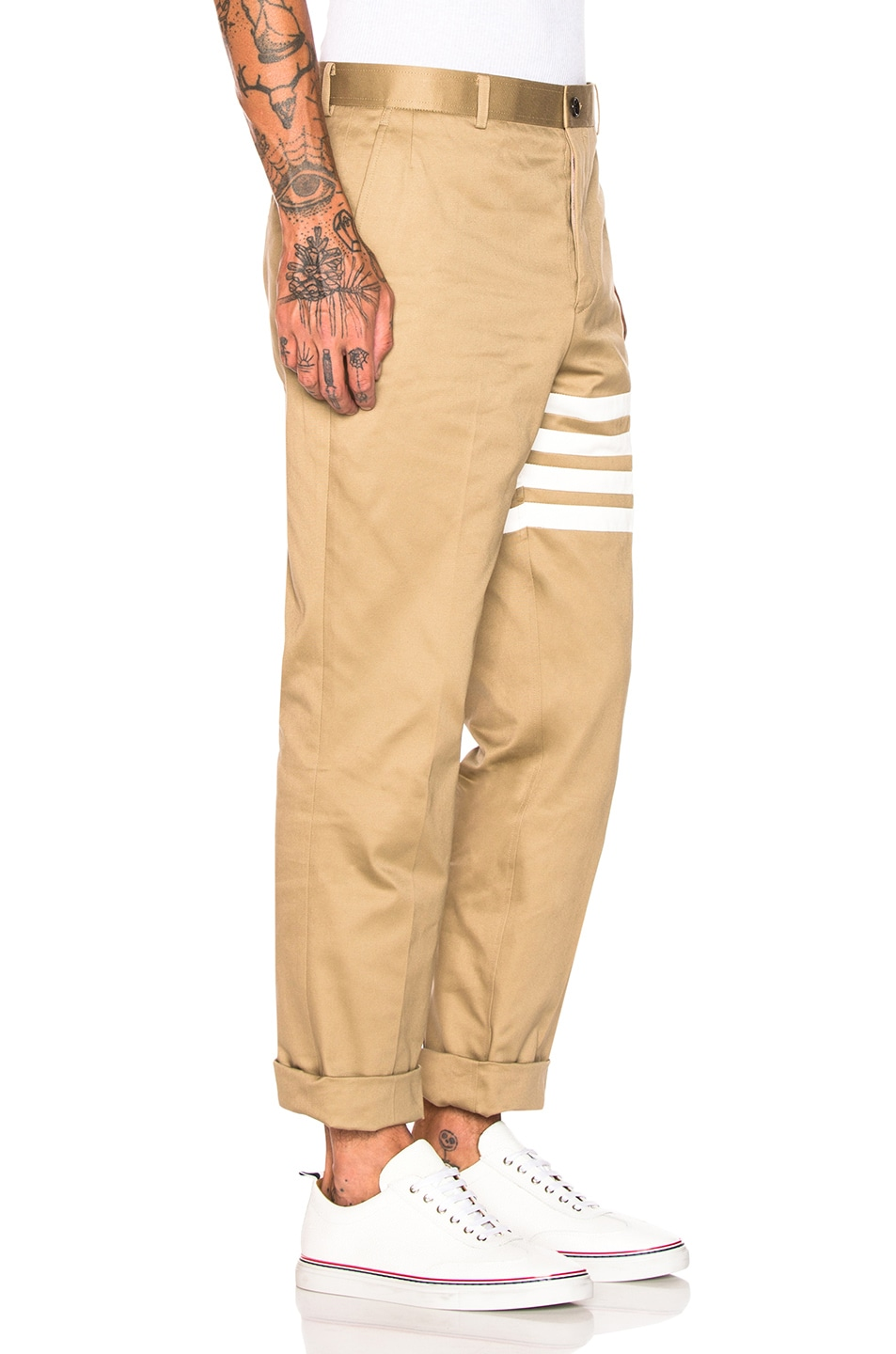 Image 2 of Thom Browne Cotton Twill Unconstructed Chino in Camel