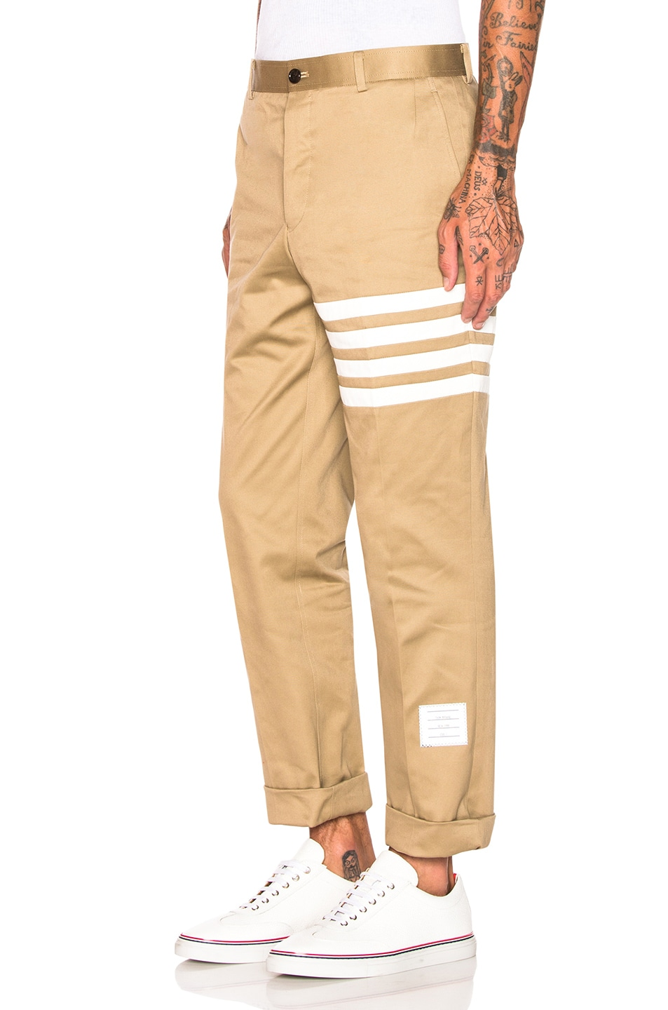 Image 3 of Thom Browne Cotton Twill Unconstructed Chino in Camel