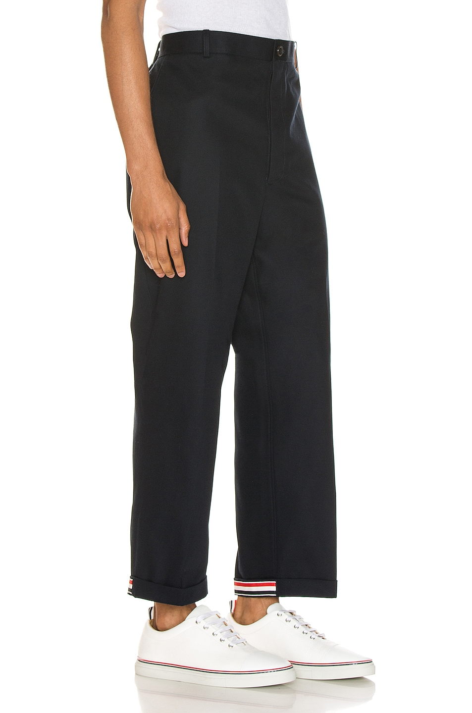 Image 1 of Thom Browne Cuffed Chino Pants in Navy
