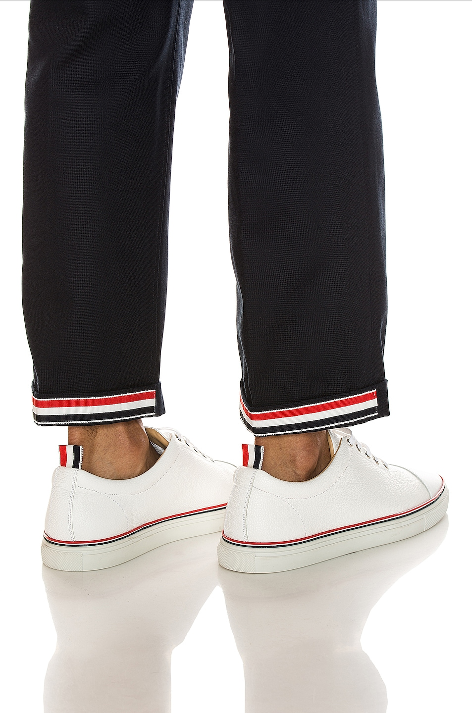 Image 5 of Thom Browne Cuffed Chino Pants in Navy