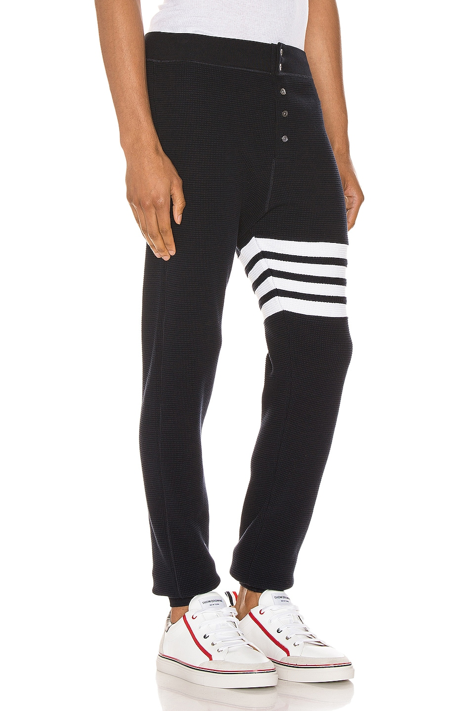 Image 2 of Thom Browne 4 Bar Long Johns Pants in Navy