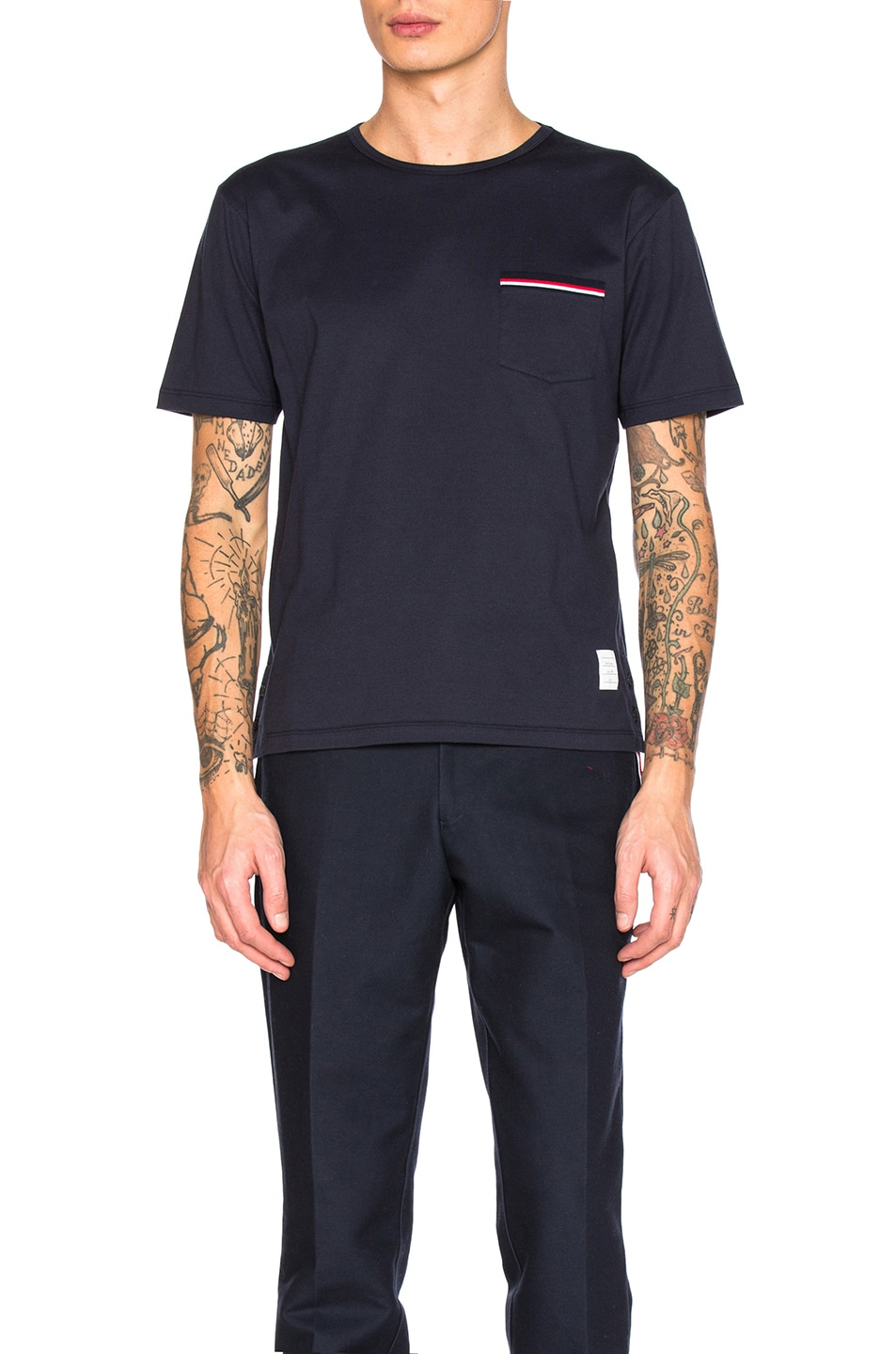 Image 1 of Thom Browne Jersey Cotton Short Sleeve Pocket Tee in Navy