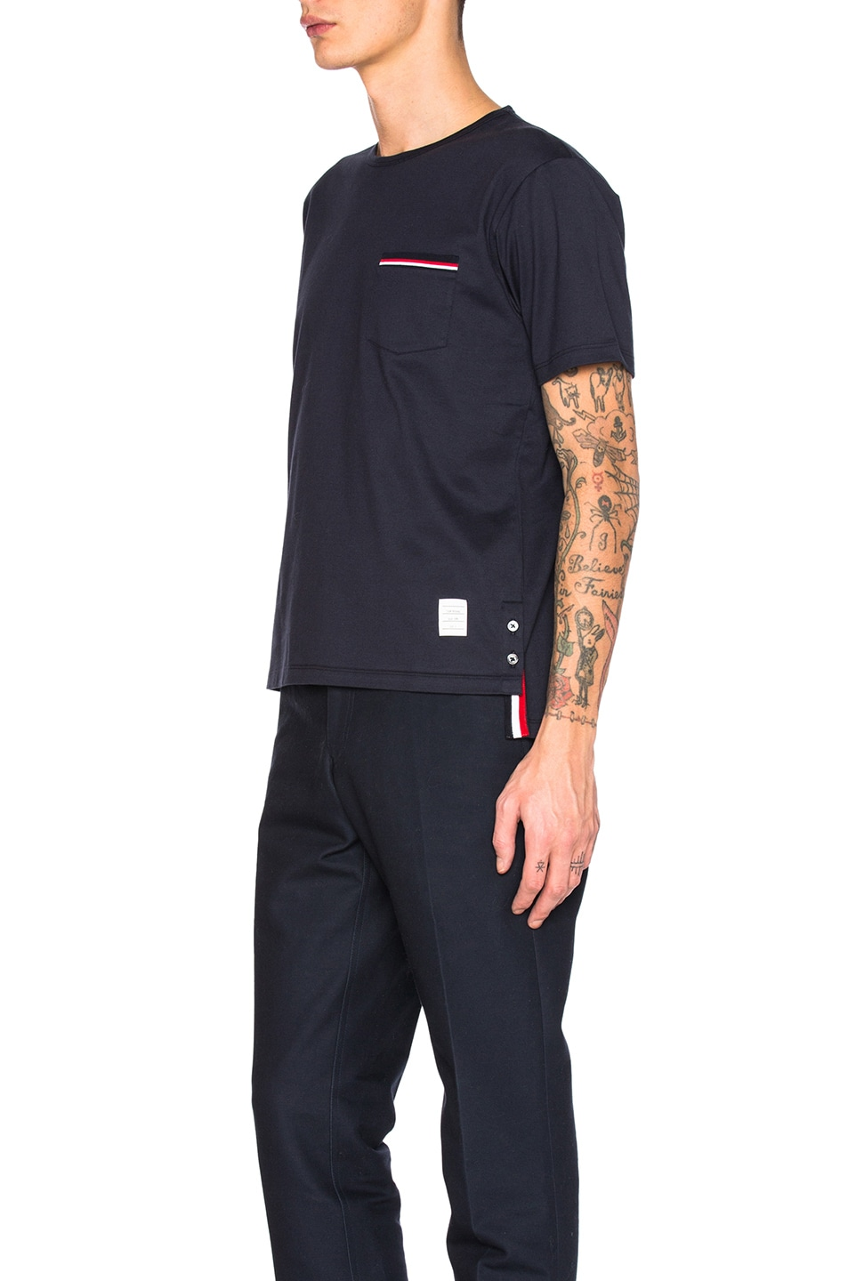 Image 2 of Thom Browne Jersey Cotton Short Sleeve Pocket Tee in Navy