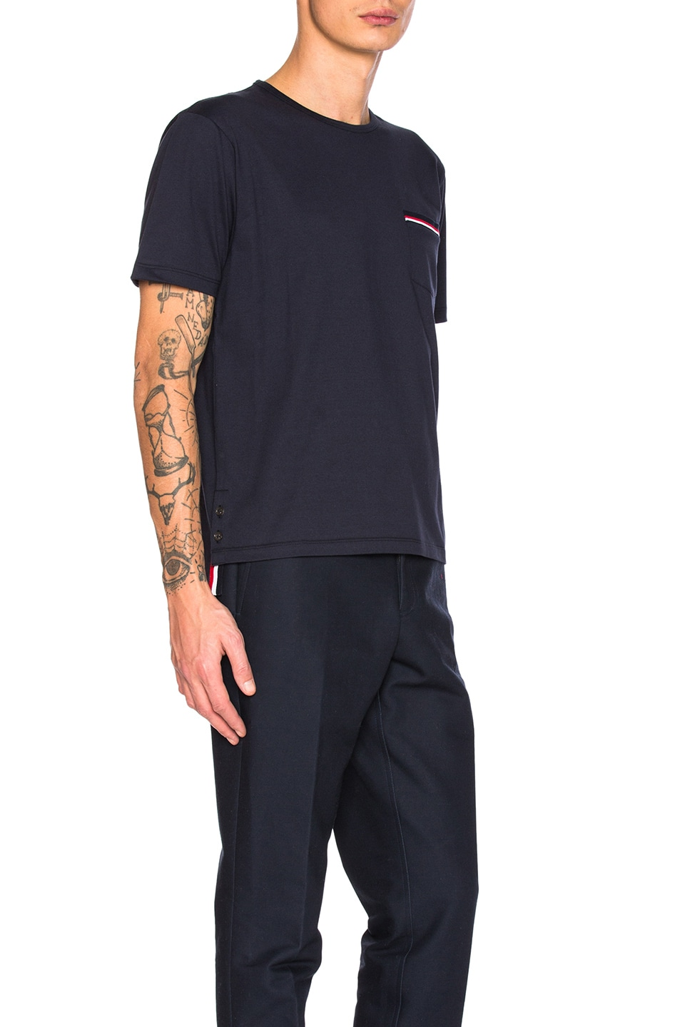 Image 3 of Thom Browne Jersey Cotton Short Sleeve Pocket Tee in Navy