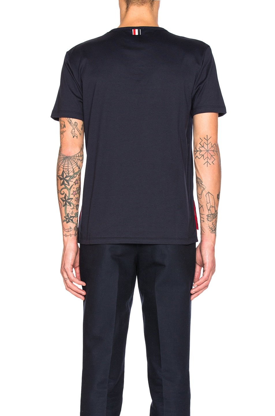 Image 4 of Thom Browne Jersey Cotton Short Sleeve Pocket Tee in Navy