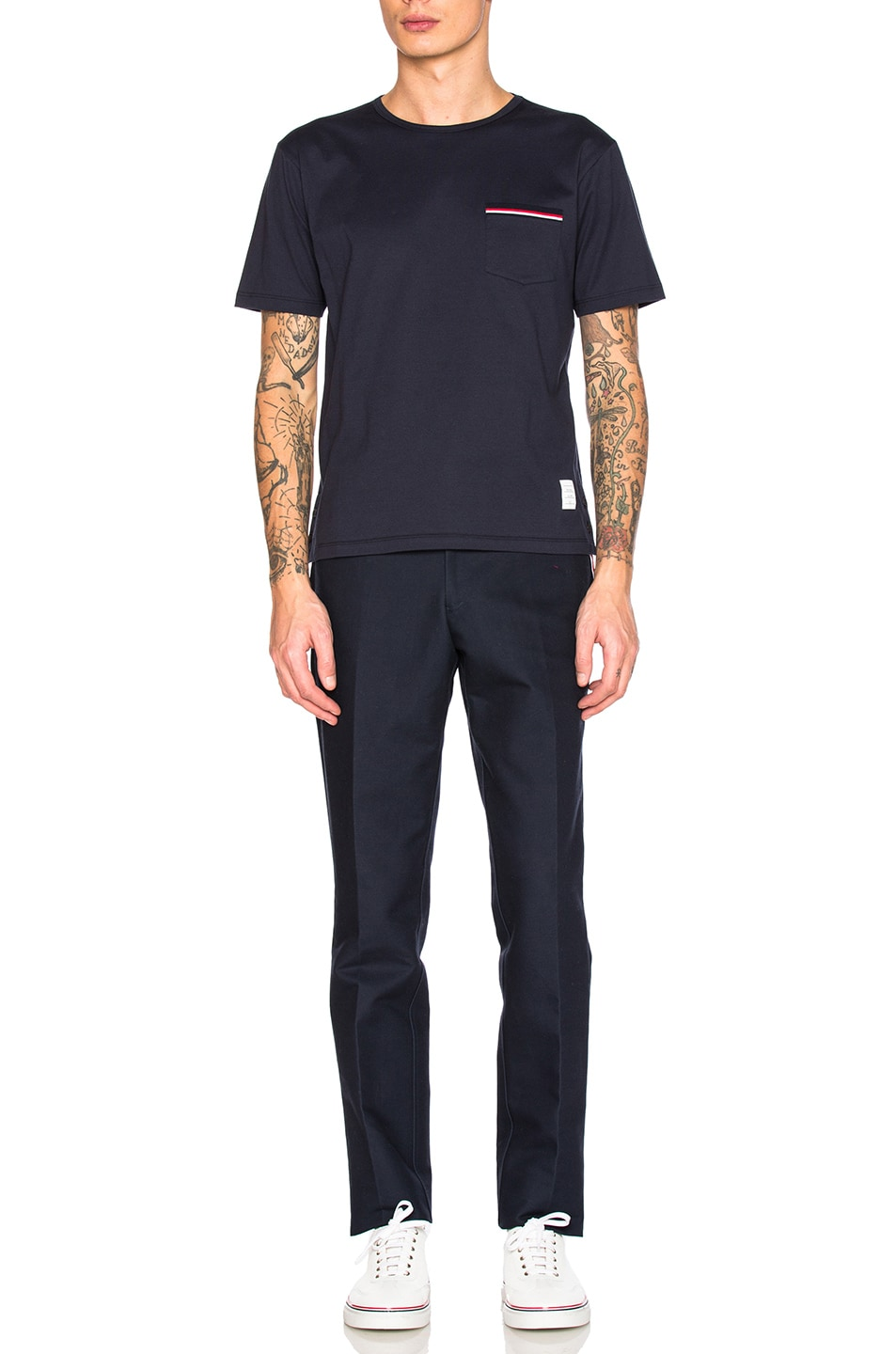 Image 5 of Thom Browne Jersey Cotton Short Sleeve Pocket Tee in Navy