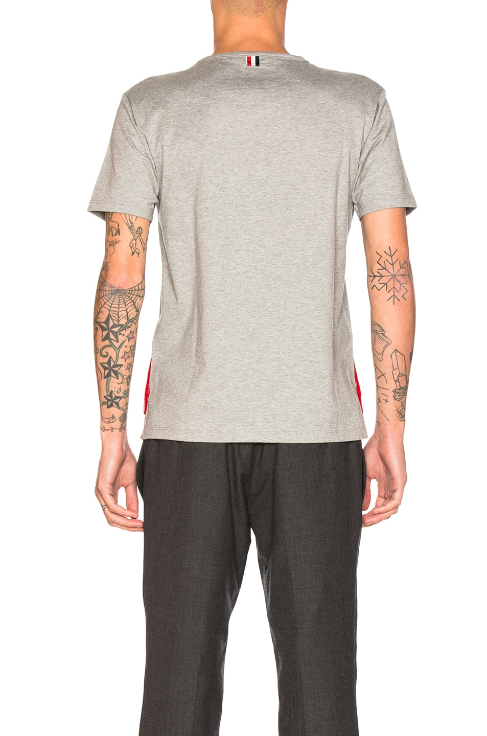 Image 4 of Thom Browne Jersey Cotton Short Sleeve Pocket Tee in Light Grey