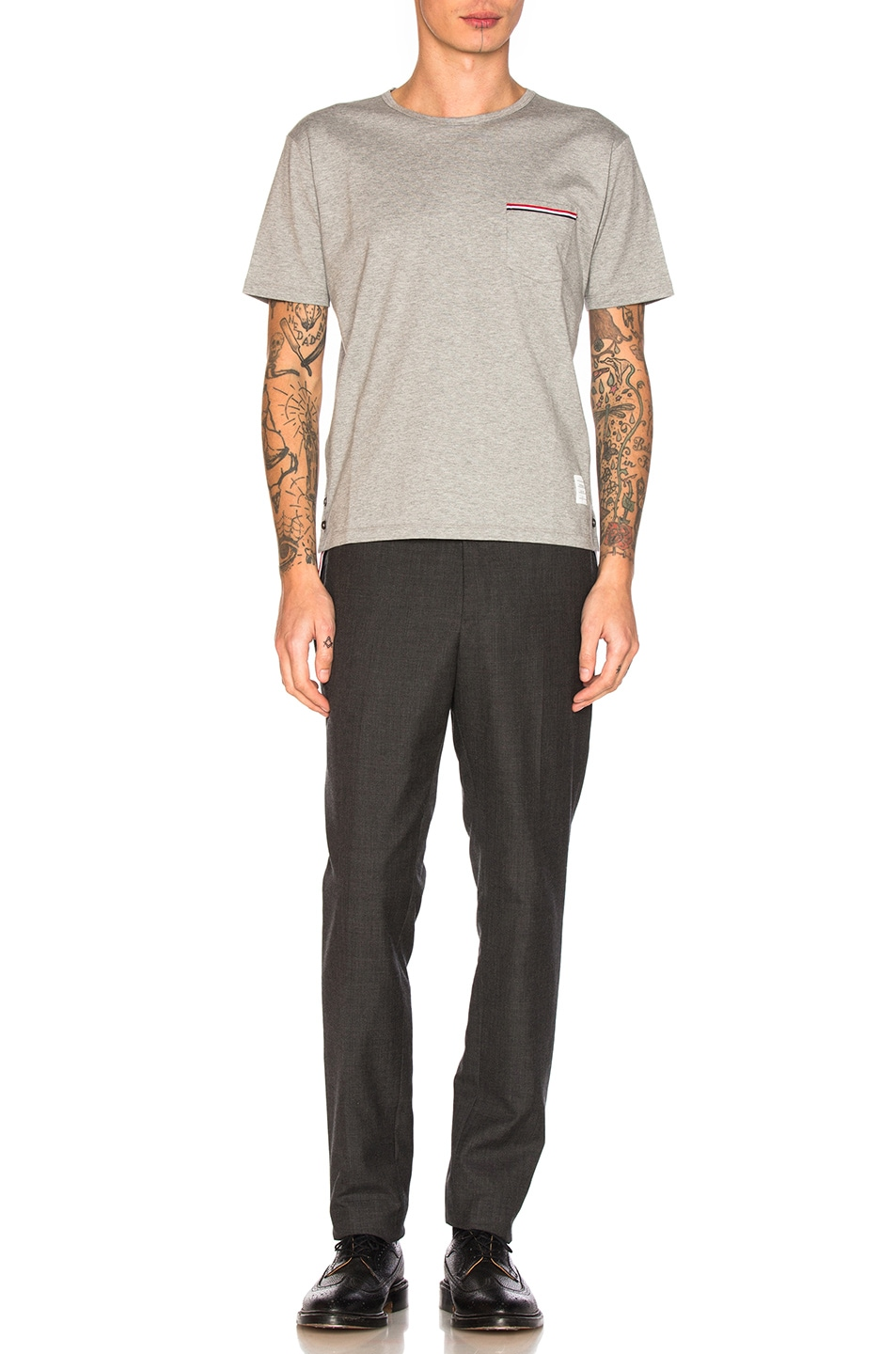 Image 5 of Thom Browne Jersey Cotton Short Sleeve Pocket Tee in Light Grey