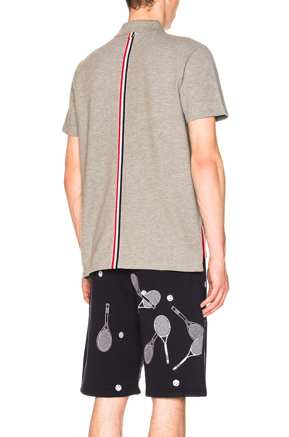 Image 1 of Thom Browne Relaxed Fit Pique Polo in Light Grey