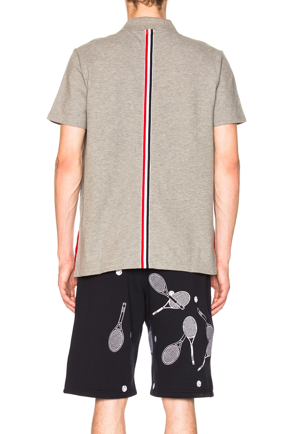 Image 4 of Thom Browne Relaxed Fit Pique Polo in Light Grey