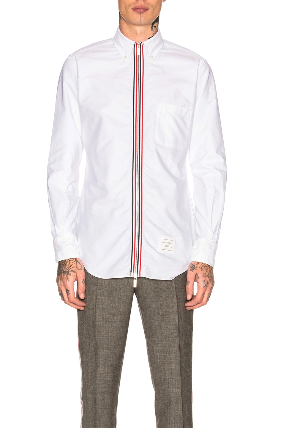 9e6687d05 Thom Browne Zip Front Classic Long Sleeve Point Collar Shirt in White