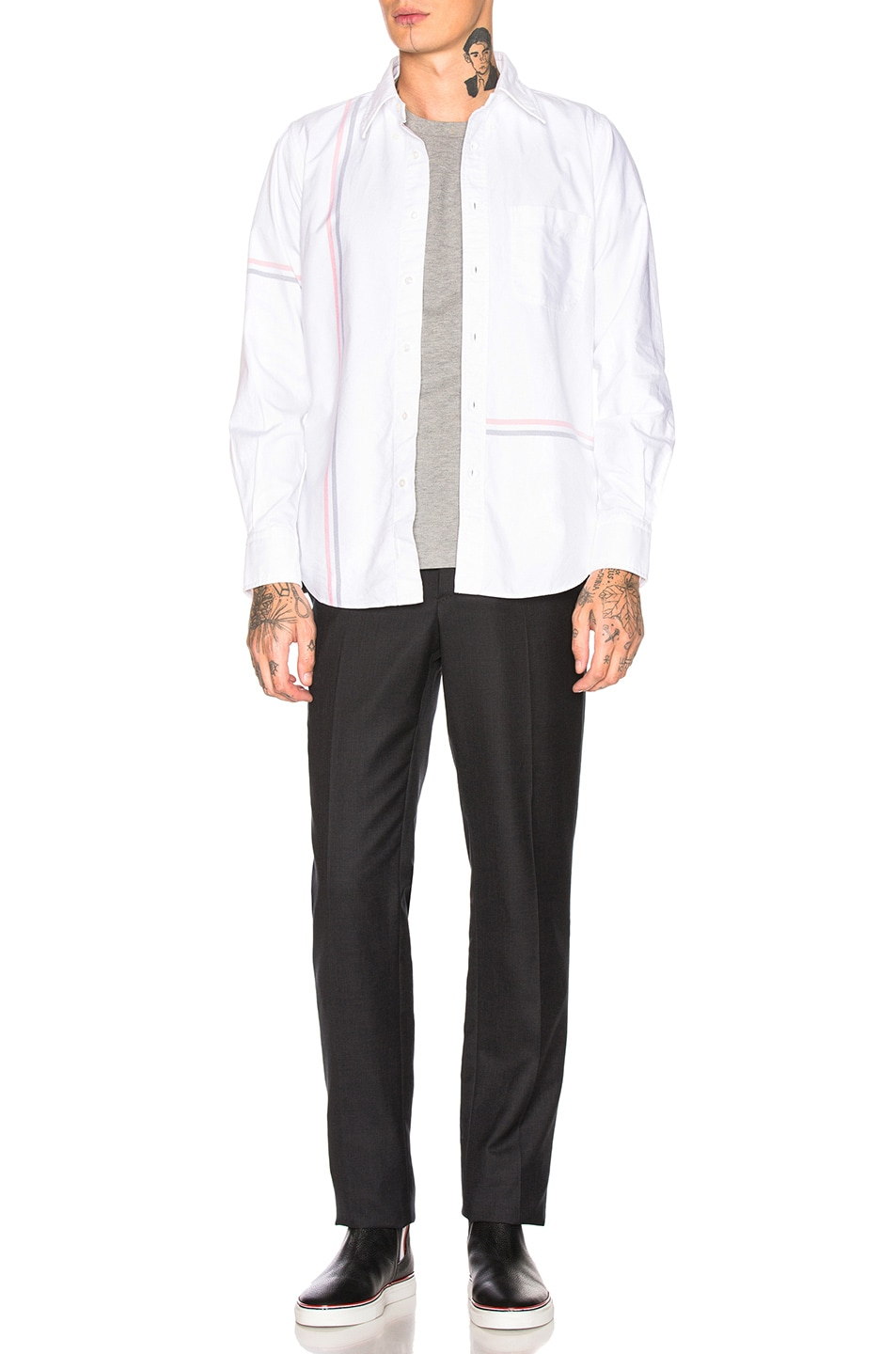 Image 6 of Thom Browne Backstripe Pique Shirt in Light Grey