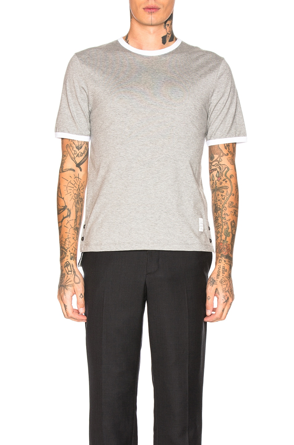 Image 1 of Thom Browne Ringer Tee in Light Grey