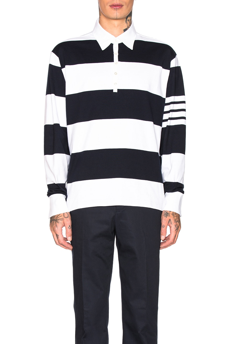 Image 1 of Thom Browne Oversized 4 Bar Rugby Polo in Navy