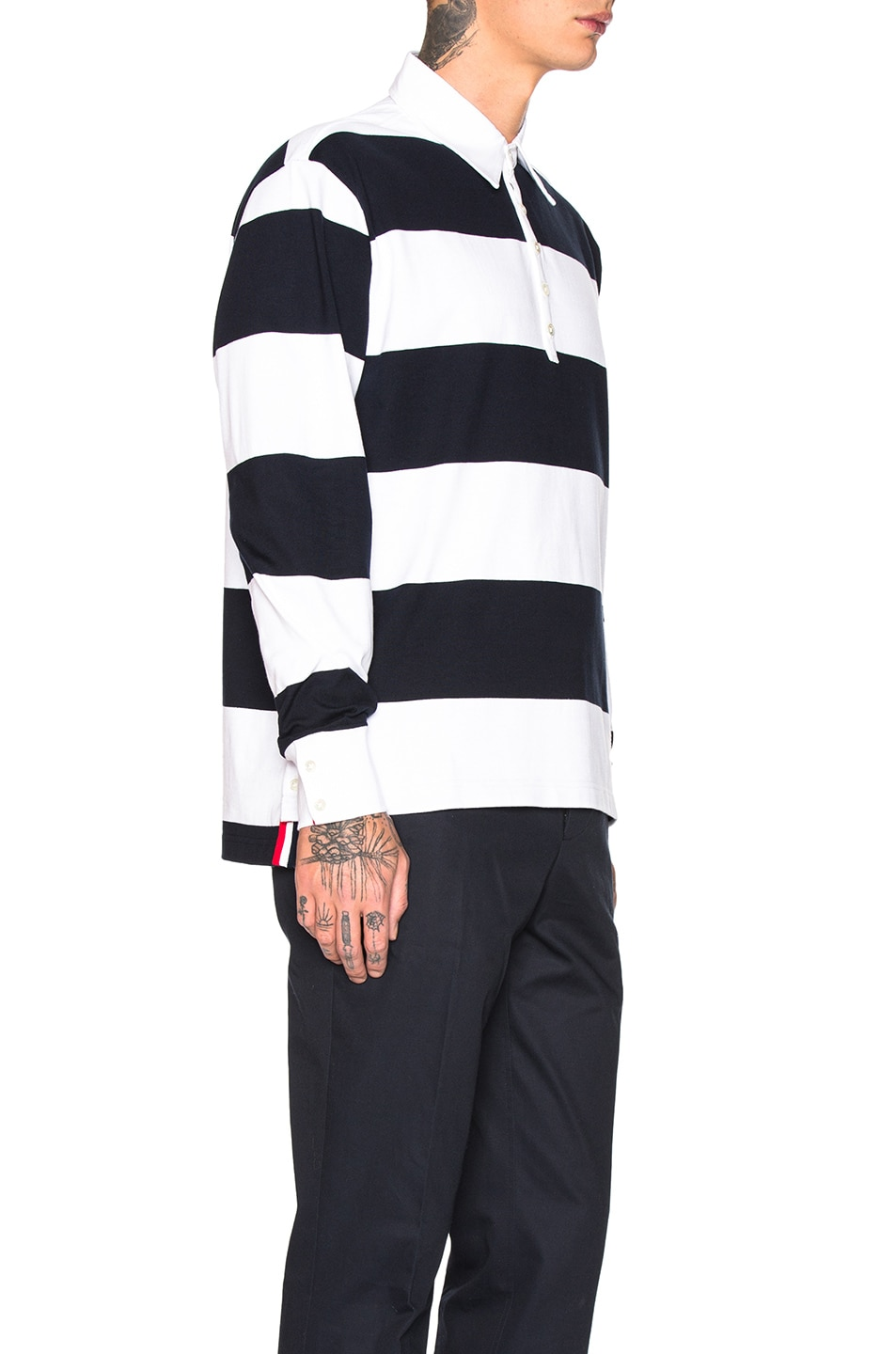 Image 2 of Thom Browne Oversized 4 Bar Rugby Polo in Navy