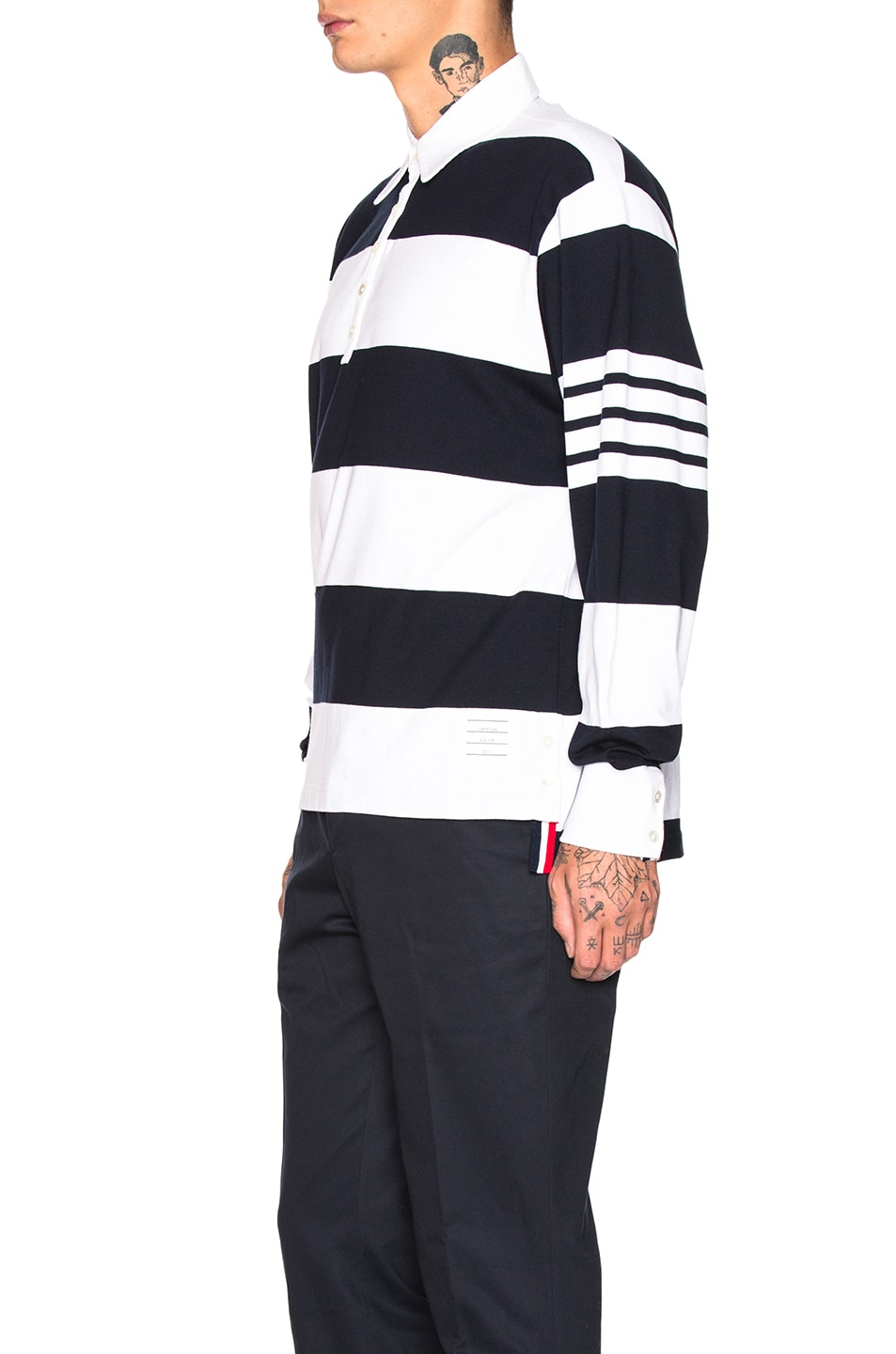 Image 3 of Thom Browne Oversized 4 Bar Rugby Polo in Navy