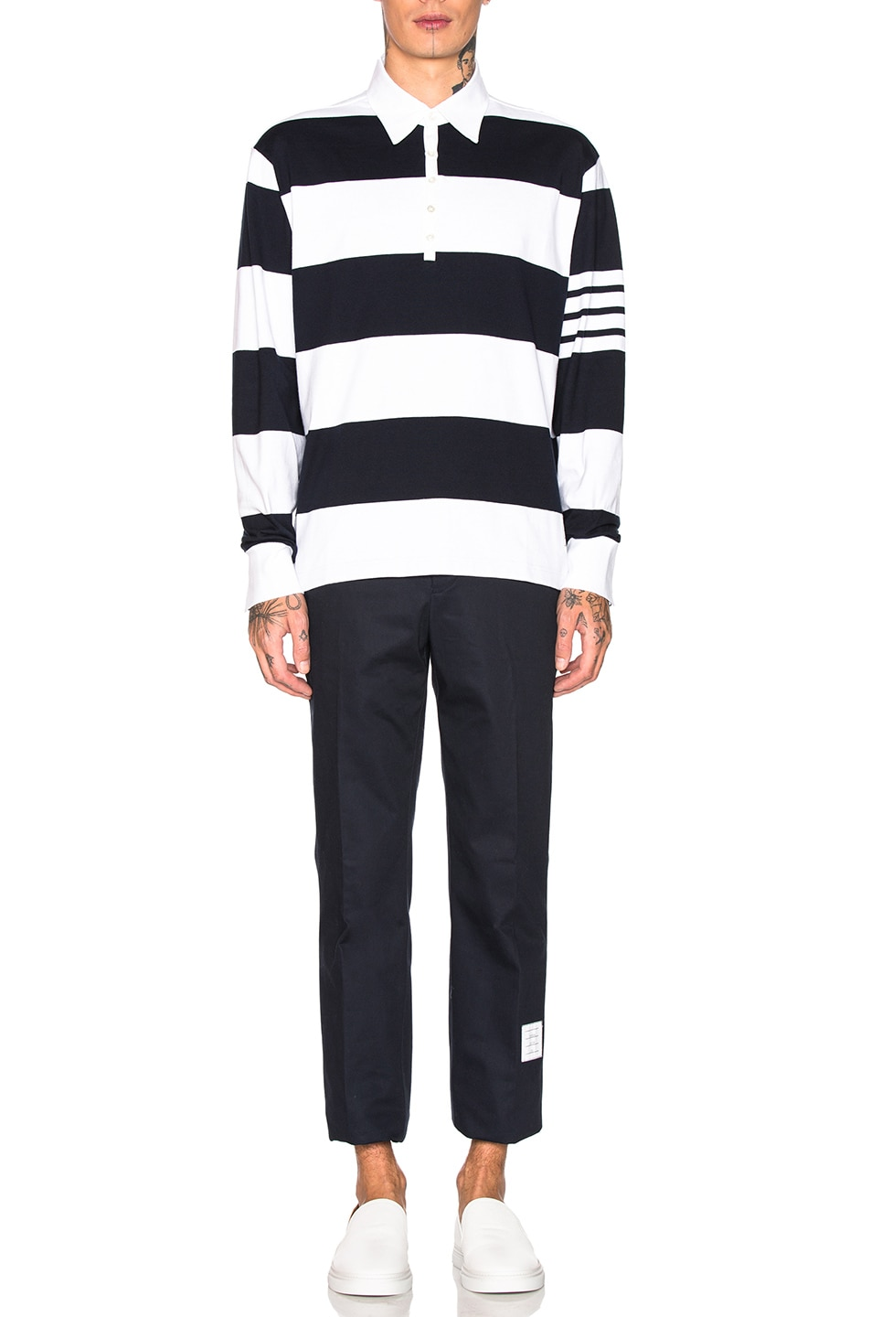 Image 5 of Thom Browne Oversized 4 Bar Rugby Polo in Navy