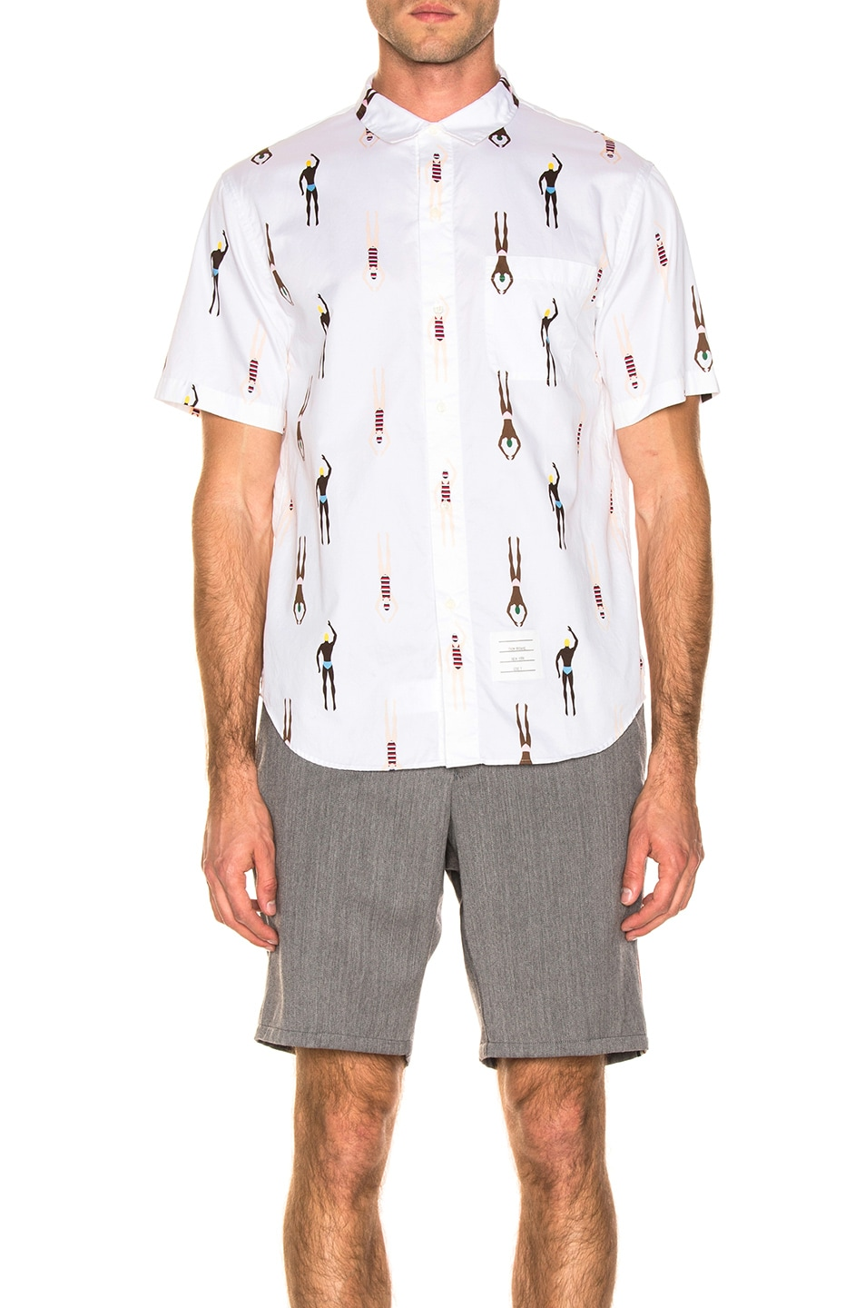Image 1 of Thom Browne Swimmer Print Shirt in White