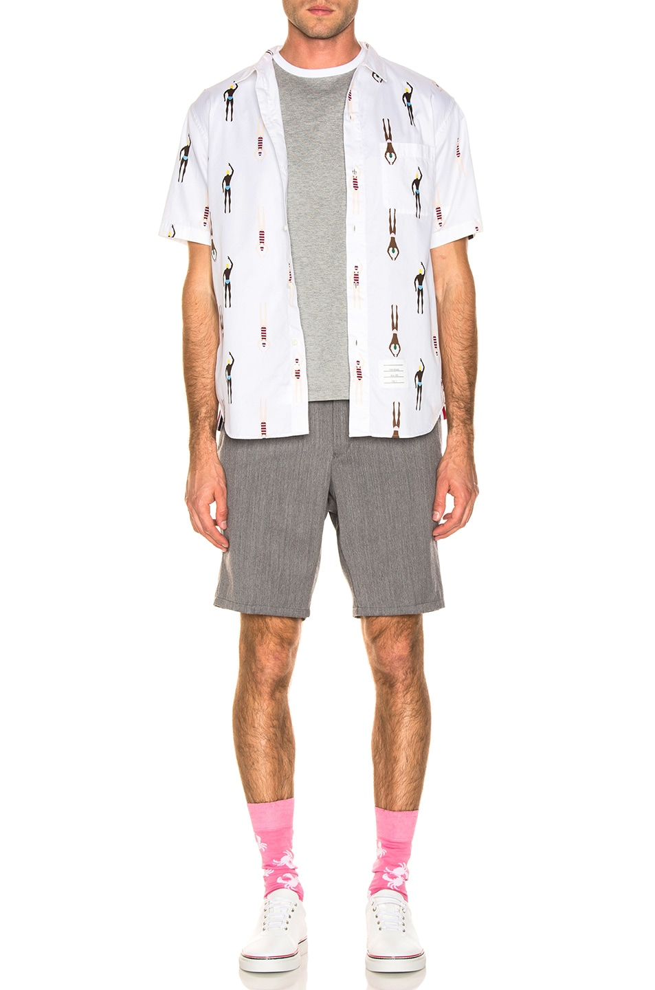Image 4 of Thom Browne Swimmer Print Shirt in White